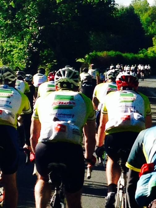 Peleton of 70 riders into Gilwern, poignant but special moment